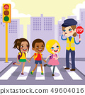 Police Woman Helping Children Crossing 49604016