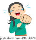 Woman Laughing Pointing Finger 49604026