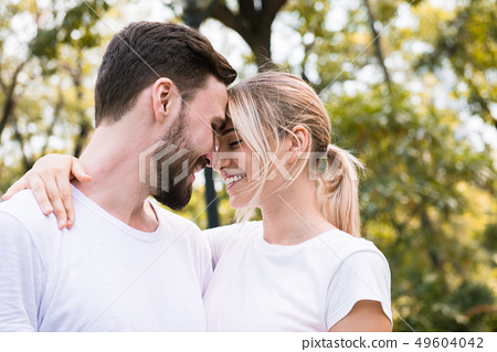 Young couple in love while in the park 49604042
