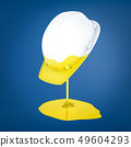 3d rendering of a hard hat which has been dipped in yellow paint with a paint puddle below. 49604293