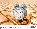 Gold ingots background with alarm clock 49605064