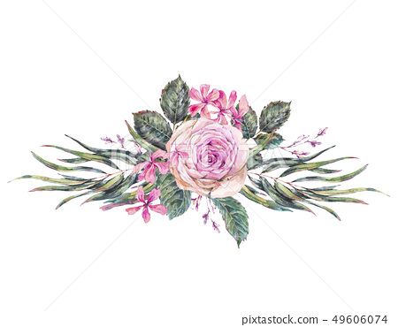 Watercolor vintage floral greeting card with pink 49606074