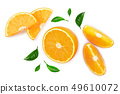 orange with leaves isolated on white background. Top view. Flat lay 49610072