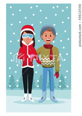 Couple in winter cartoon 49610590