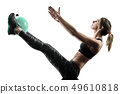 woman pilates fitness soft ball exercises silhouette isolated 49610818
