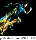 runner running jogger jogging man isolated light painting black background  49610826