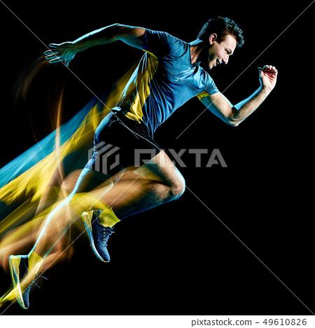 runner running jogger jogging man isolated light painting black background  49610826