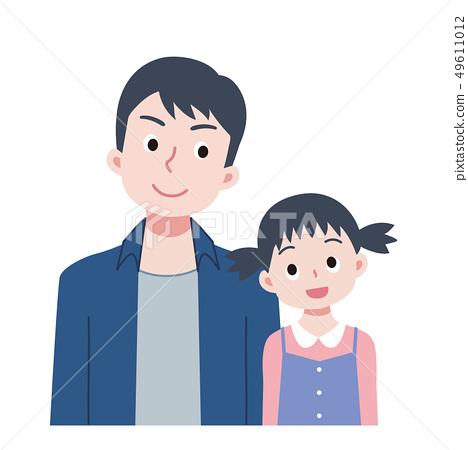 爸爸女兒父親和兒子 49611012