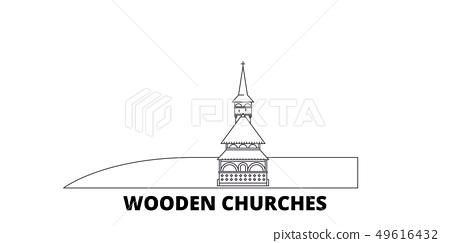 Romania, Maramures, Wooden Churches line travel skyline set. Romania, Maramures, Wooden Churches 49616432