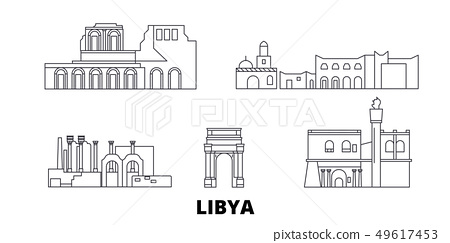 Libya line travel skyline set. Libya outline city vector illustration, symbol, travel sights 49617453