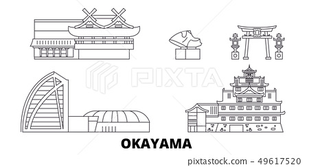 Japan, Okayama line travel skyline set. Japan, Okayama outline city vector illustration, symbol 49617520
