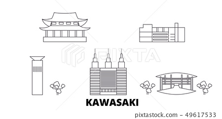 Japan, Kawasaki line travel skyline set. Japan, Kawasaki outline city vector illustration, symbol 49617533
