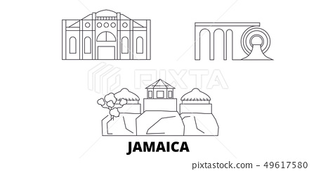 Jamaica line travel skyline set. Jamaica outline city vector illustration, symbol, travel sights 49617580