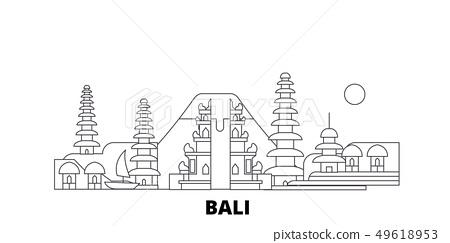 Indonesia, Bali line travel skyline set. Indonesia, Bali outline city vector illustration, symbol 49618953