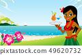 有一份冷的饮料的Hula女孩,海滩背景拷贝空间可利用 49620732