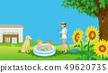 여름 정원 비닐 수영장에서 노는 아이들 지켜 보는 엄마와 개 - 복사 공간 있음 49620735
