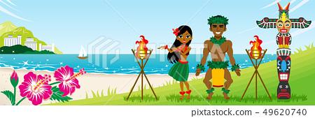 Hula舞蹈家結合在海灘的跳舞水平 - 與拷貝空間 49620740