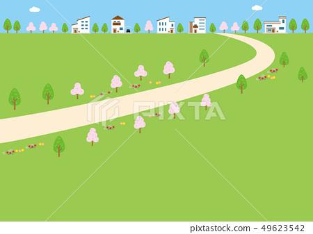 배경 소재 - 집이있는 풍경 49623542