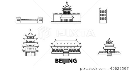 China, Beijing line travel skyline set. China, Beijing outline city vector illustration, symbol 49623597