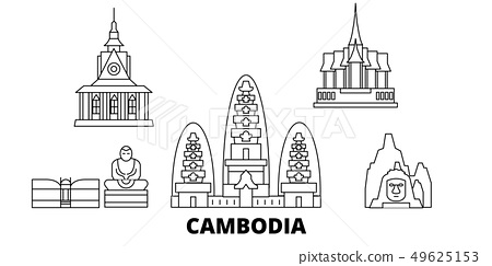 Cambodia line travel skyline set. Cambodia outline city vector illustration, symbol, travel sights 49625153