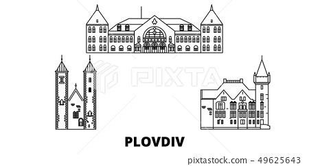 Bulgaria, Plovdiv line travel skyline set. Bulgaria, Plovdiv outline city vector illustration 49625643