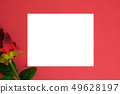 empty white love card with rose on red texture background. 49628197