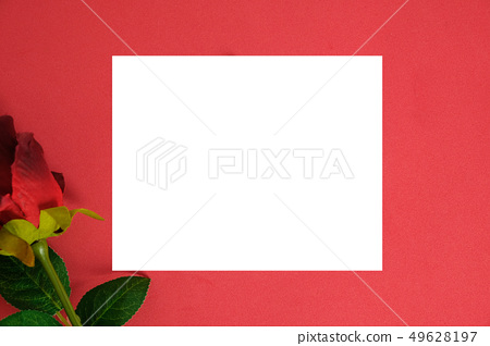 empty white love card with rose on red texture... - Stock Photo ...