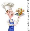 Cartoon Chef Poiting with Kebab 49628539