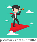 businessman with a telescope on Red Paper plane 49629064