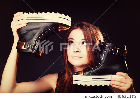 people concept - teenage girl in casual shoes 49631185