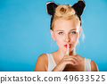 Pin up style, retro girl with silence sign. 49633525