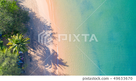 Aerial top view of Beach with shade emerald blue 49633670