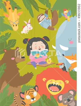 Little girl reading book with cartoon animal. Lion,tiger,giraffe,slot 49633902