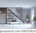 3d rendering of loft hall interior with stairs 49635820