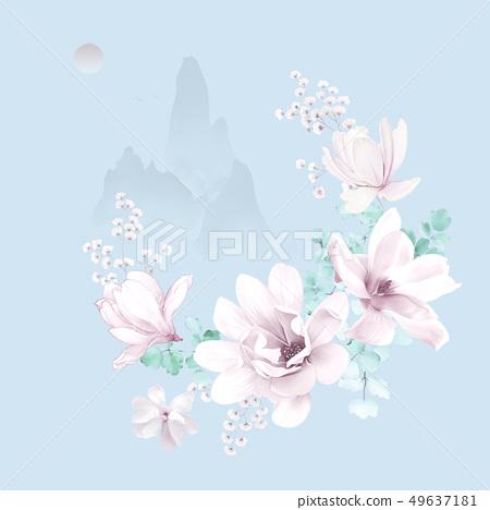 優雅的水彩玉蘭花和邀請卡設計 49637181