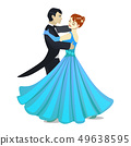 Isolated Waltz Dancers in Cartoon Style 49638595