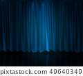 Realistic Spotlight on stage curtain. Option curtain at home in the cinema. Vector Illustration 49640349