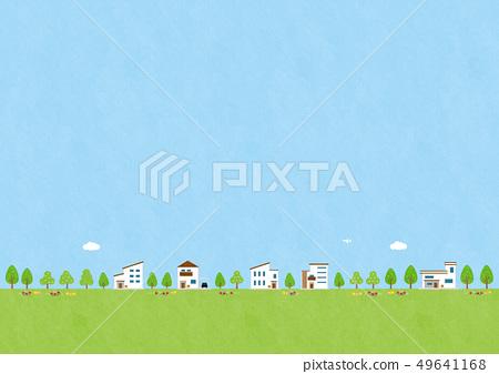 배경 소재 - 집이있는 풍경 49641168