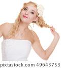 Wedding day. Portrait happy woman bride isolated 49643753