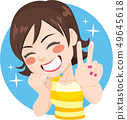 Happy woman smiling making victory sign 49645618