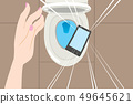 Hand dropping smartphone on toilet 49645621