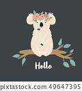 Funny cute koala in floral wreath. 49647395