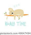 Funny cute koala sleeping on a tree 49647494