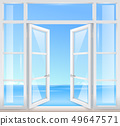 Vintage wooden window with sea view 49647571