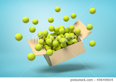 3d rendering of cardboard box full of tennis balls in mid-air on light-blue background. 49649604