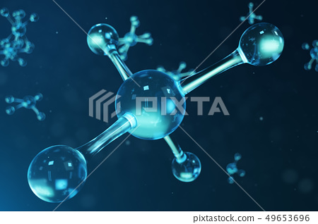 3D illustration molecule structure. Scientific medical background with atoms and molecules 49653696