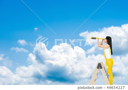 Young Woman looking with binocular 49654227