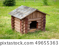 Wooden dog house  on green lawn. 49655363