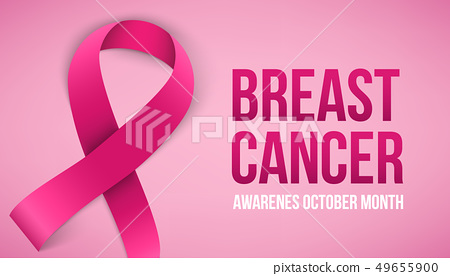Creative illustration of breast cancer awareness campaign in october month background. Art design 49655900