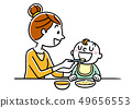 Mother giving food to baby 49656553